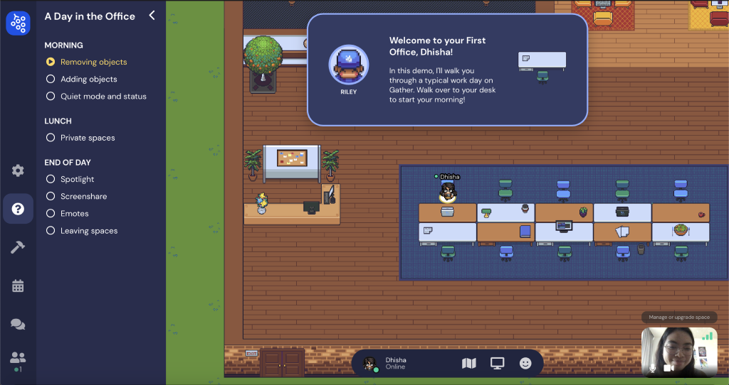A screenshot of Gather.town's virtual office, a virtual space remote working tool.