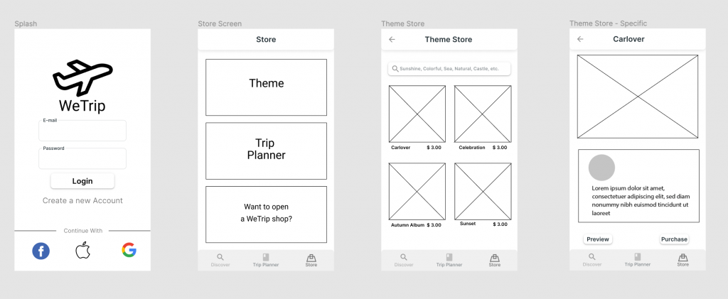 This is WeTrip's partial wireframe.
